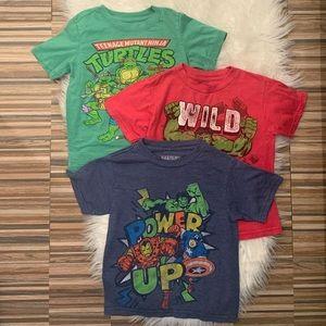 👦🏻Boys bundle 3 shirts Marvel Ninja Turtles 4T
